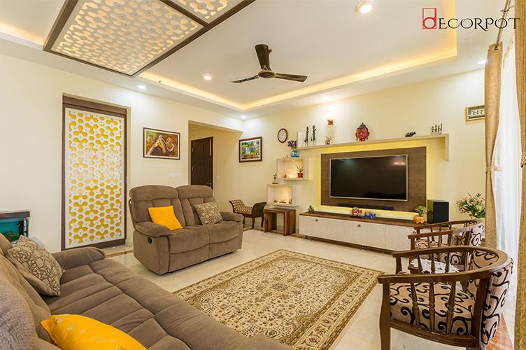 Interior Design Firm In Bellandur-Living-Room 4BHK, Bangalore