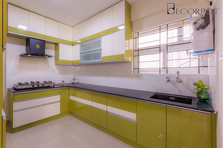 L Shaped Kitchen Interior Design-Kitchen-3BHK, Krishnarajapura , Bangalore