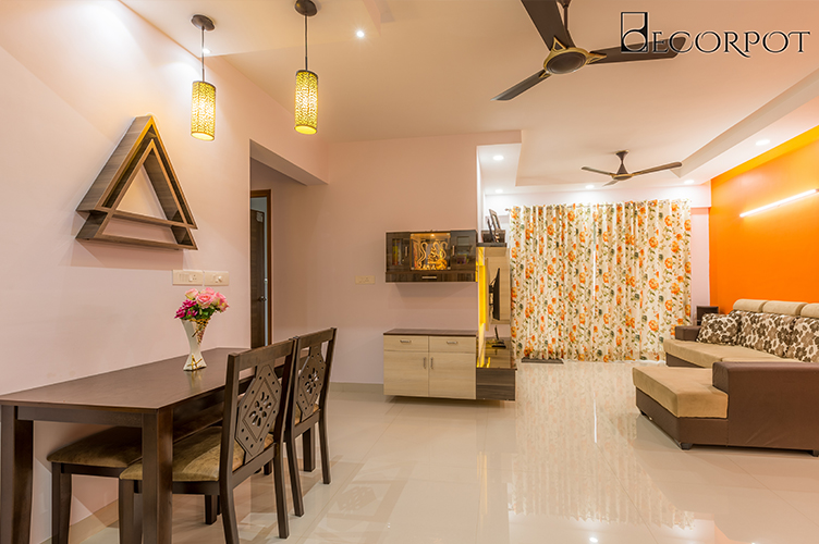 Dining Room Interior Design-3. Dining + Puja-2BHK, Electronic City, Bangalore
