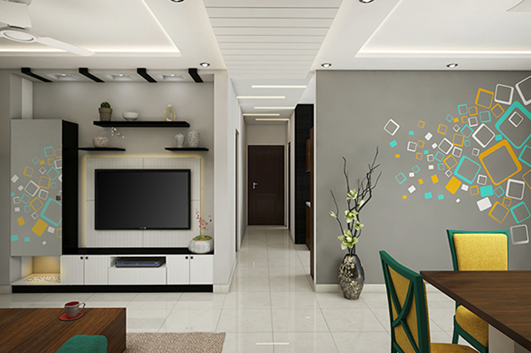 Best Interior Designers In Marathahalli-Living-Room-TV-3BHK, Bangalore