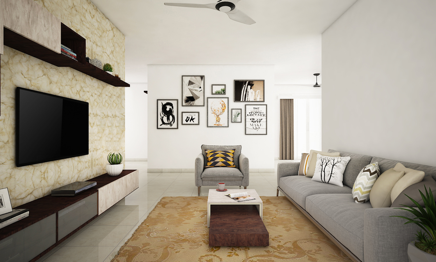 Interior Design Firm In Jayanagar-Living-Room 2-3BHK, Bangalore